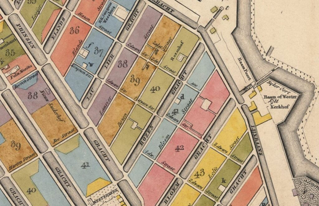 map of the city of Amsterdam, 1829