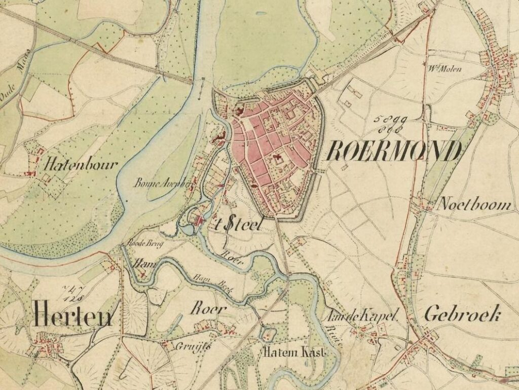 map of Roermond and surrounding area, about 1844