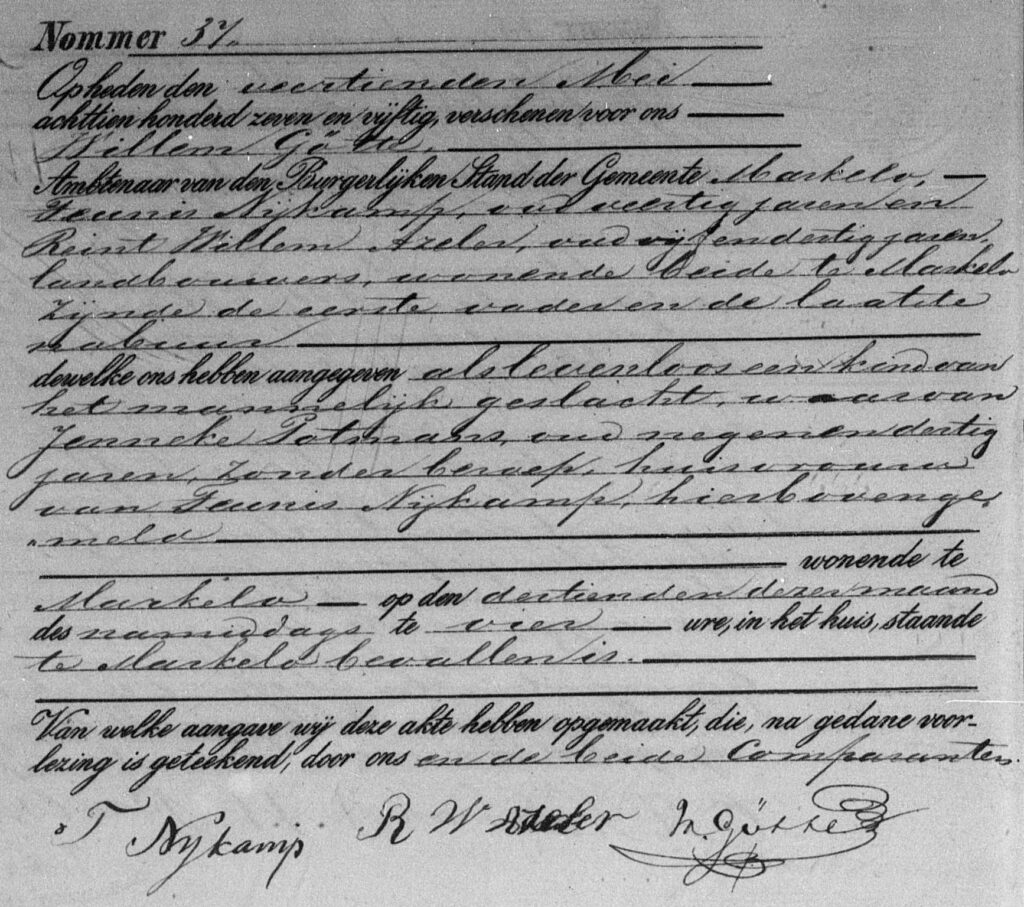 death record of a stillborn son of Teunis Nijkamp