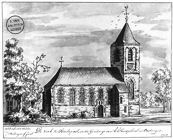 drawing of the Dutch Reformed church of Buitenpost, 1723