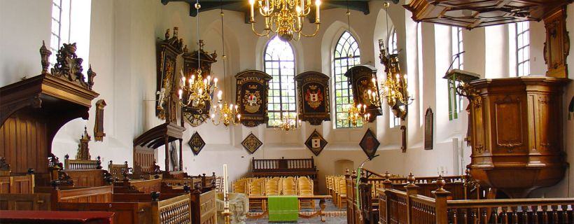 The interior of the Dutch Reformed church of Buitenpost.