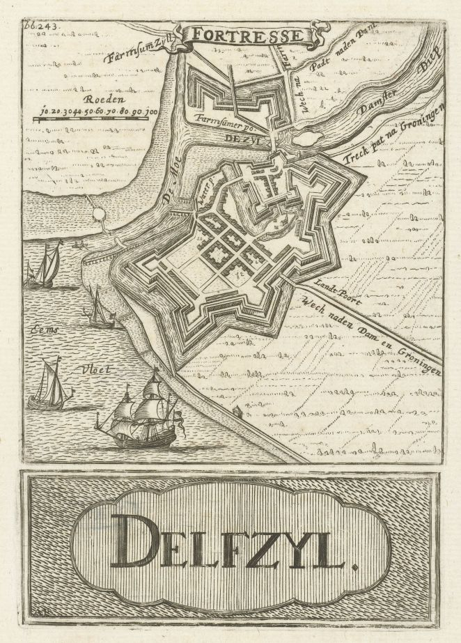 old map of the fortress Delfzijl (Groningen, Netherlands) by Hendrik Hofsnider in 1743