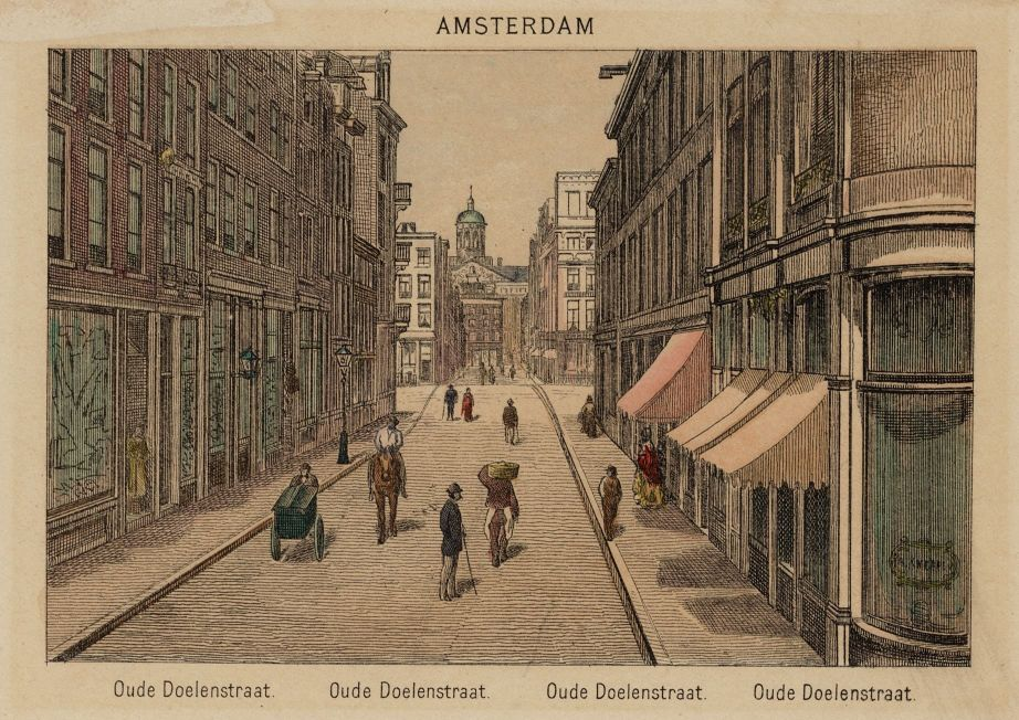 view of Oude Doelenstraat in Amsterdam