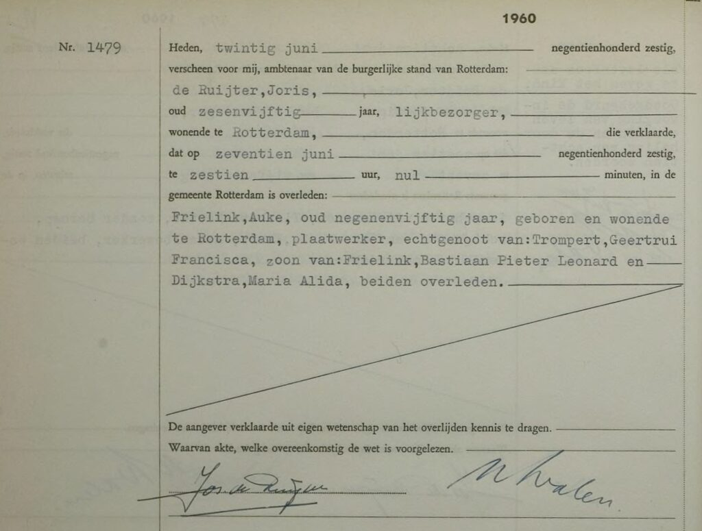 Death record of Auke Frielink (1960).