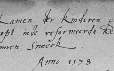 "Header of the baptismal register of Sneek, saying: ""Names of the children, baptized in the Reformed Church in Sneek, anno 1578."""