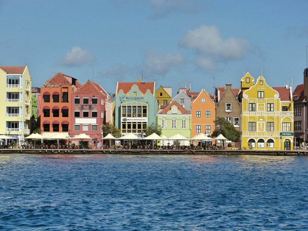 The famous colored houses of Willemstad, Curacao, where the Slockers family lived.