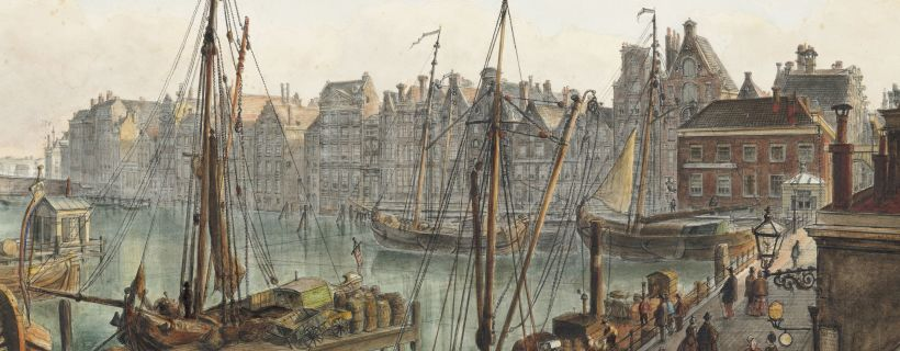 Painting of Damrak and surrounding streets in Amsterdam, in 1870.
