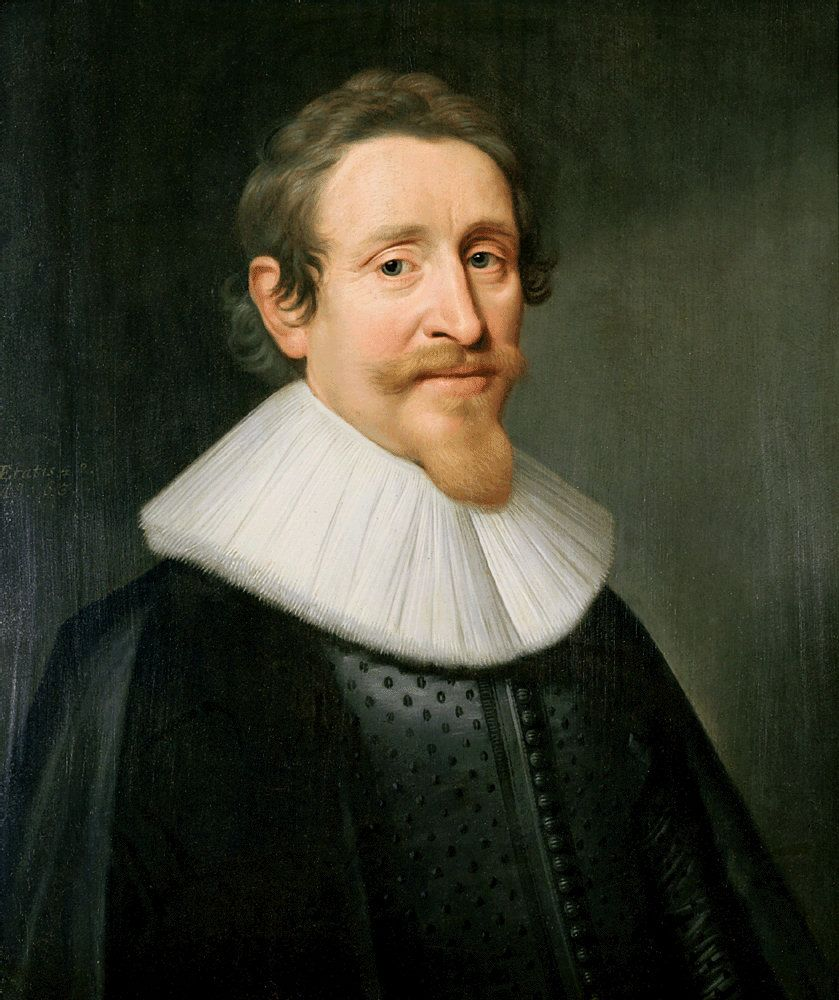 Portrait of the Dutch lawyer and statesman Hugo de Groot (Hugo Grotius), who wrote the book The Introduction to Dutch Jurisprudence in 1631.