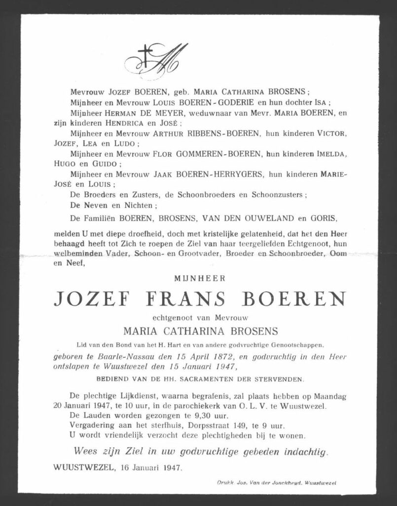 Mourning card for Jozef Frans Boeren, who died in 1947. This card or letter gives information about his death, his funeral and his relatives.